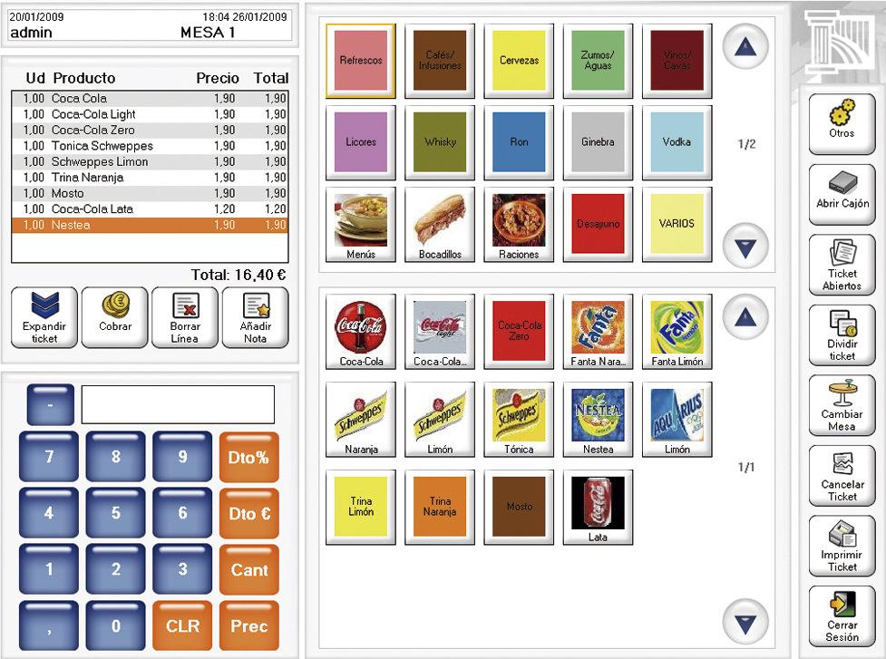 Software Agora Restaurant Professional - Pantalla principal de venta