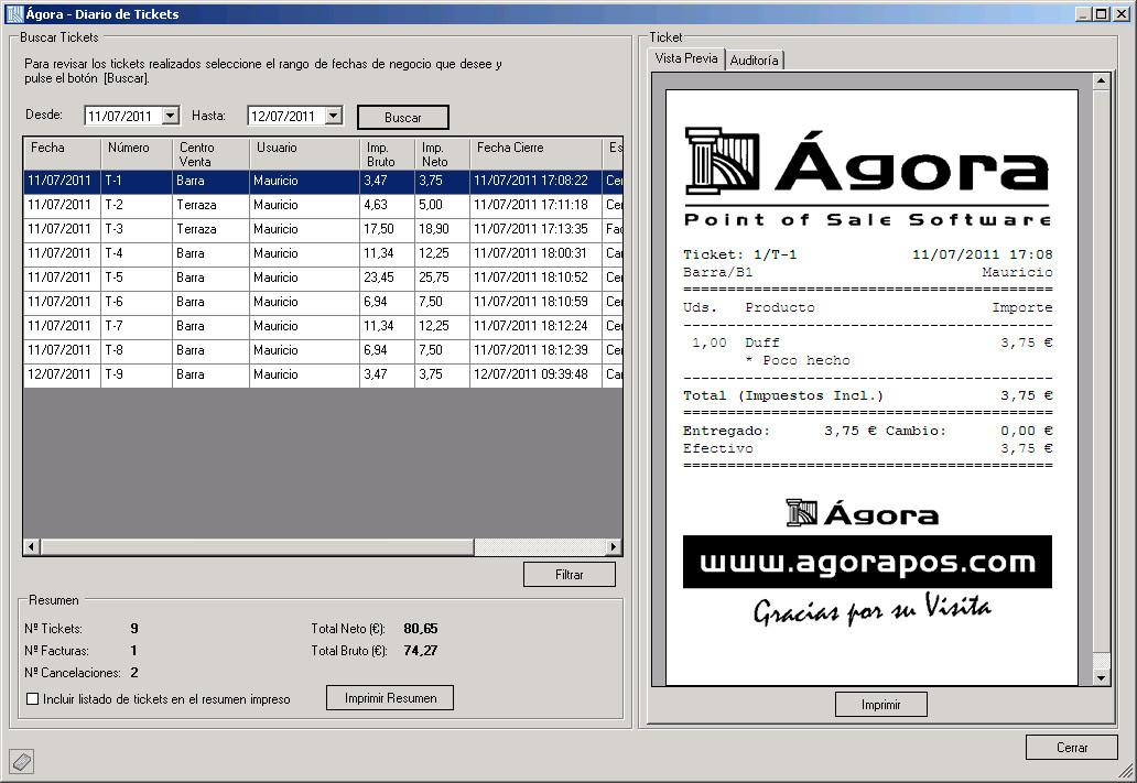 Software Agora Restaurant Professional - Diario de tickets