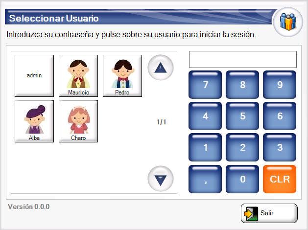 Software Agora Restaurant Professional - Selector de usuario